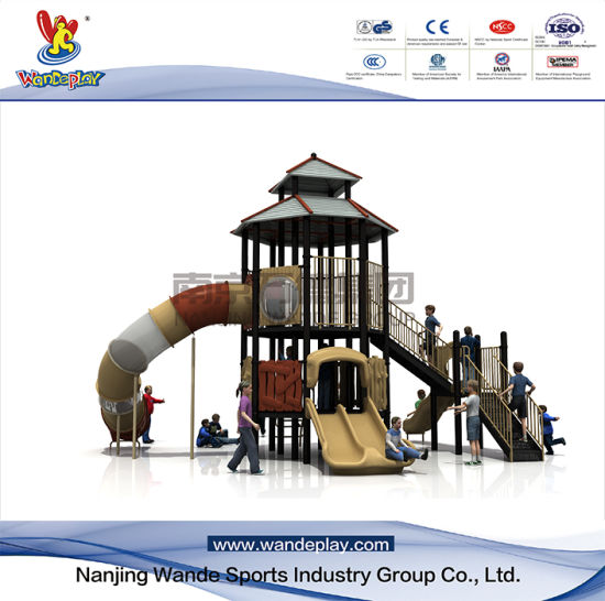 Outdoor pavilion playset for youth with slide and ladder