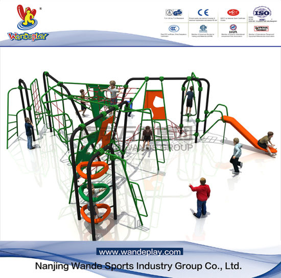 Outdoor Rope Ladder Climbing Net with Plastic Slide for Kids