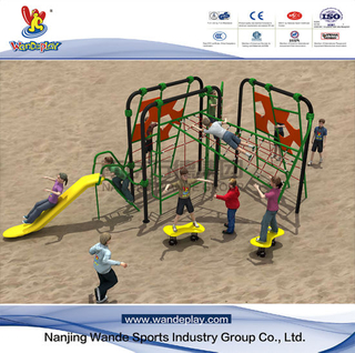 Climbing Rope Netting Grid with Plastic Slide for Kids