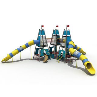 Triangle Rope Kids Tower Playground with Rocket Tower